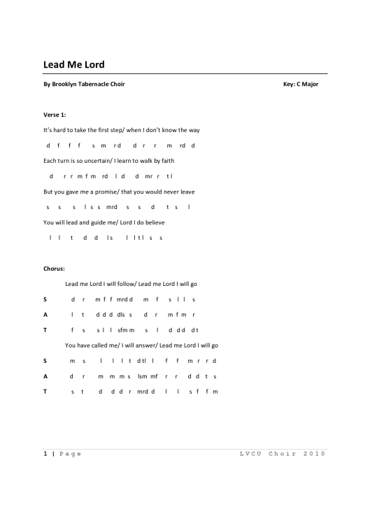Music Score Sheet Lead Me Lord By Brooklyn Tabernacle Choir